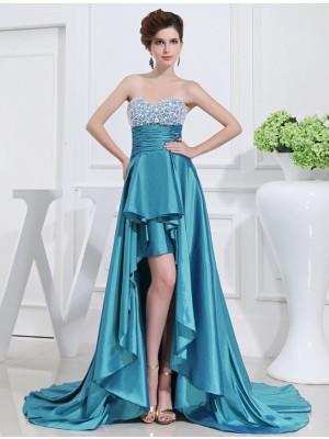 A-Line/Princess Beading Sweetheart High Low Sleeveless Taffeta Dresses
