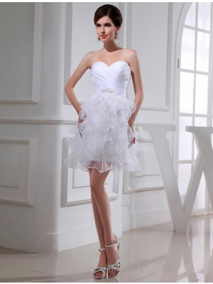A-Line/Princess Beading Sweetheart Sleeveless Short Satin Organza Cocktail Dresses