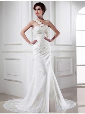 Trumpet/Mermaid Beading One-shoulder Sleeveless Lace Satin Long Wedding Dresses