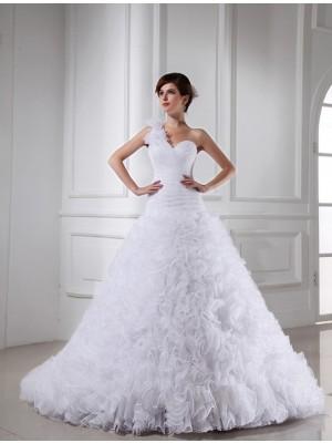Ball Gown Beading One-shoulder Sweetheart Sleeveless Long Organza Wedding Dresses