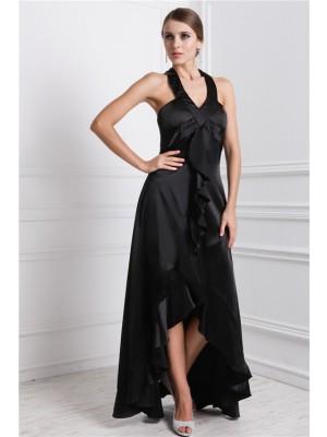 A-Line/Princess Bateau Ruffles Sleeveless High Low Silk like Satin Dresses