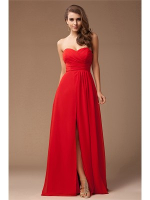 Sheath/Column Sweetheart Sleeveless Long Ruffles Chiffon Bridesmaid Dresses