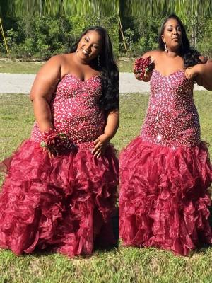 Trumpet/Mermaid Sweetheart Sleeveless Beading Floor-Length Organza Plus Size Dresses