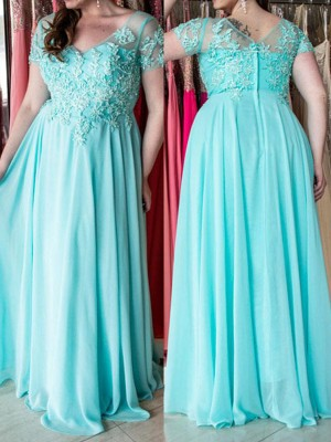 A-Line/Princess Sweetheart Short Sleeves Applique Floor-Length Chiffon Plus Size Dresses