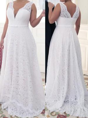 A-Line/Princess V-neck Sleeveless Lace Sweep/Brush Train Lace Plus Size Dresses