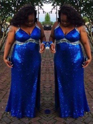 Sheath/Column Straps Sleeveless Sequin Floor-Length Sequins Plus Size Dresses
