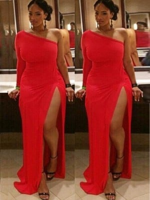 Sheath/Column One-Shoulder Long Sleeves Ruched Sweep/Brush Train Spandex Plus Size Dresses