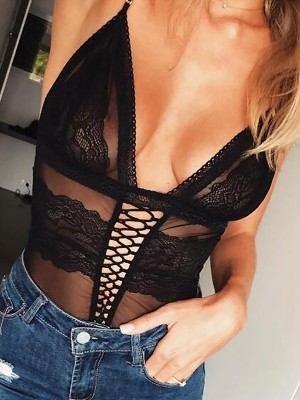Deep V-Neck Lace Lingerie Sets