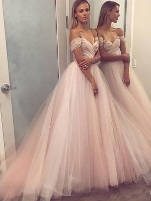 A-Line/Princess Sleeveless Off-the-Shoulder Tulle Beading Sweep/Brush Train Dresses