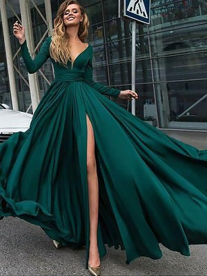A-Line/Princess V-Neck Long Sleeves Sweep/Brush Train Ruffles Satin Chiffon Dresses