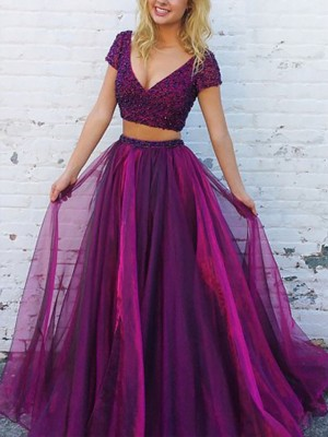 A-Line/Princess V-Neck Short Sleeves Floor-Length Beading Tulle Two Piece Dresses