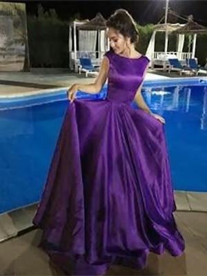 A-Line Bateau Sleeveless Floor-Length With Ruffles Satin Dresses