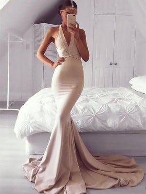 Mermaid V-neck Sleeveless Sweep/Brush Train With Ruffles Satin Dresses