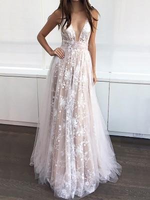 A-Line/Princess V-neck Floor-Length Tulle Sleeveless Applique Dresses