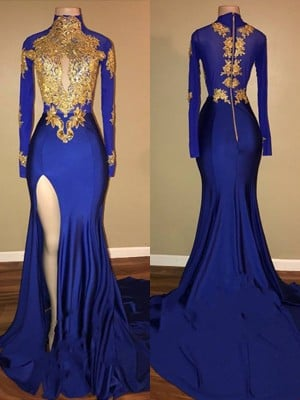 Trumpet/Mermaid High Neck Long Sleeves Sweep/Brush Train Applique Satin Dresses