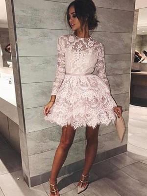 A-Line/Princess Bateau Long Sleeves Beading Lace Short/Mini Dresses