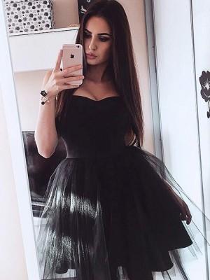 A-Line/Princess Sleeveless Satin Strapless Short/Mini Dresses