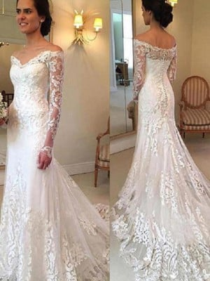 Trumpet/Mermaid Off-the-Shoulder Court Train Long Sleeves Applique Lace Wedding Dresses