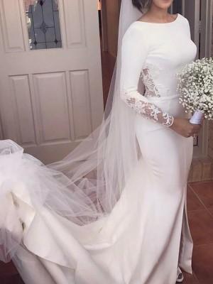 Trumpet/Mermaid Long Sleeves Scoop Court Train Lace Satin Wedding Dresses