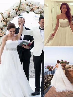 A-Line/Princess Sweetheart Sleeveless Beading Tulle Sweep/Brush Train Wedding Dresses