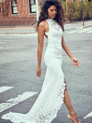Trumpet/Mermaid Lace Halter Sleeveless Sweep/Brush Train Wedding Dresses