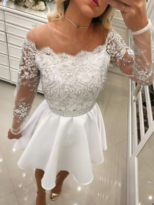 A-Line/Princess Long Sleeves Off-the-Shoulder Chiffon Beading Short/Mini Dresses