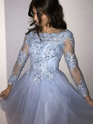 A-Line/Princess Long Sleeves Off-the-Shoulder Tulle Applique Short/Mini Dresses