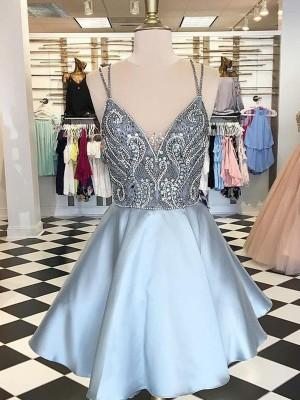 A-Line/Princess Sleeveless Spaghetti Straps Satin Beading Short/Mini Dresses