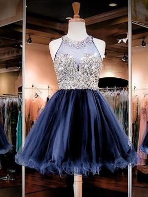 A-Line/Princess Sleeveless Bateau Tulle Beading Short/Mini Dresses
