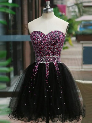 A-Line/Princess Sleeveless Sweetheart Tulle Beading Short/Mini Dresses