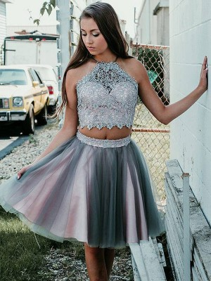 A-Line/Princess Applique Halter Tulle Sleeveless Short/Mini Two Piece Dresses