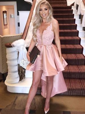 A-Line/Princess Satin Spaghetti Straps Applique Sleeveless Asymmetrical Dresses