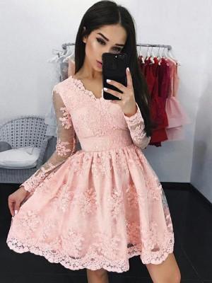 A-Line/Princess Lace Long Sleeves Applique V-neck Short/Mini Dresses