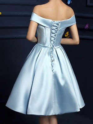 A-Line/Princess Satin Off-the-Shoulder Bowknot Sleeveless Knee-Length Dresses