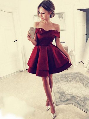 A-Line/Princess Ruffles Satin Off-the-Shoulder Sleeveless Short/Mini Dresses