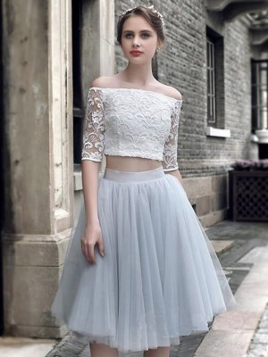 A-Line/Princess Tulle Ruched Off-the-Shoulder 1/2 Sleeves Knee-Length Two Piece Dresses
