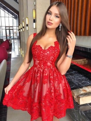 A-Line/Princess Sleeveless Straps Lace Applique Short/Mini Dresses