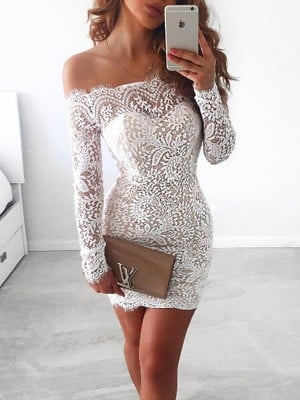 Sheath/Column Long Sleeves Off-the-Shoulder Lace Short/Mini Dresses