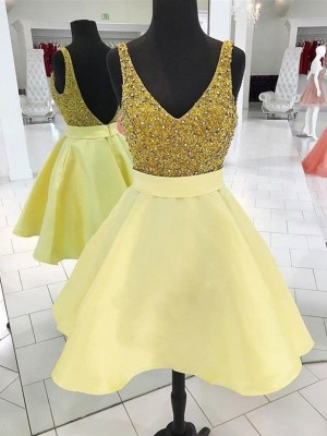 A-Line V-neck Cut Short With Beading Satin Yellow Homecoming Dresses