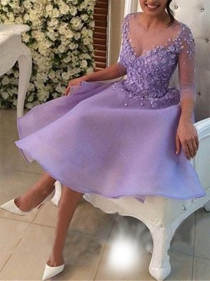 A-Line V-neck Cut Short With Applique Organza Lilac Homecoming Dresses