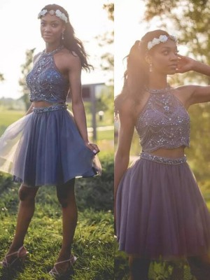 A-Line Halter Cut Short With Beading Tulle Silver Homecoming Dresses