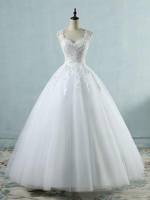 Ball Gown V-neck Sleeveless Sweetheart Floor-Length Applique Tulle Wedding Dresses