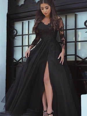 Ball Gown Long Sleeves Off-the-Shoulder Floor-Length Tulle Applique Dresses