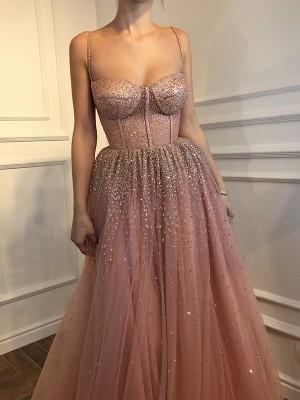 A-Line/Princess Sleeveless Spaghetti Straps Floor-Length Rhinestone Tulle Dresses