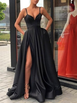 A-Line/Princess Sleeveless Straps Sweep/Brush Train Ruffles Satin Dresses