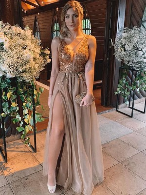 A-Line/Princess Sleeveless V-neck Floor-Length Rhinestone Tulle Dresses