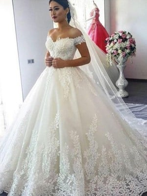 Ball Gown Off-the-Shoulder Sleeveless Sweep/Brush Train Lace Tulle Wedding Dresses