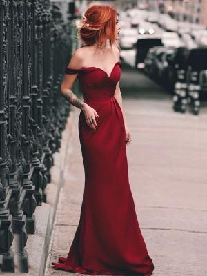 Sheath/Column Off-the-Shoulder Sleeveless Sweep/Brush Train Ruched Elastic Woven Satin Dresses