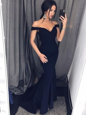 Trumpet/Mermaid V-neck Sleeveless Sweep/Brush Train Ruffles Satin Dresses