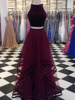A-Line/Princess Scoop Sleeveless Floor-Length Ruffles Tulle Dresses